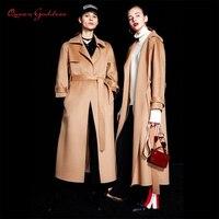 Двусторонняя модная зимняя и осенняя женская зимняя 100% шерстяное пальто Длинная Куртка женская винтажная Элегантная куртка верблюжьего цв