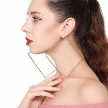Fashion Gold Silver Square Earring For Women 100mm Exaggerated Geometric Rhombus Hoop Earrings Jewelry Brincos Gift  LE0206