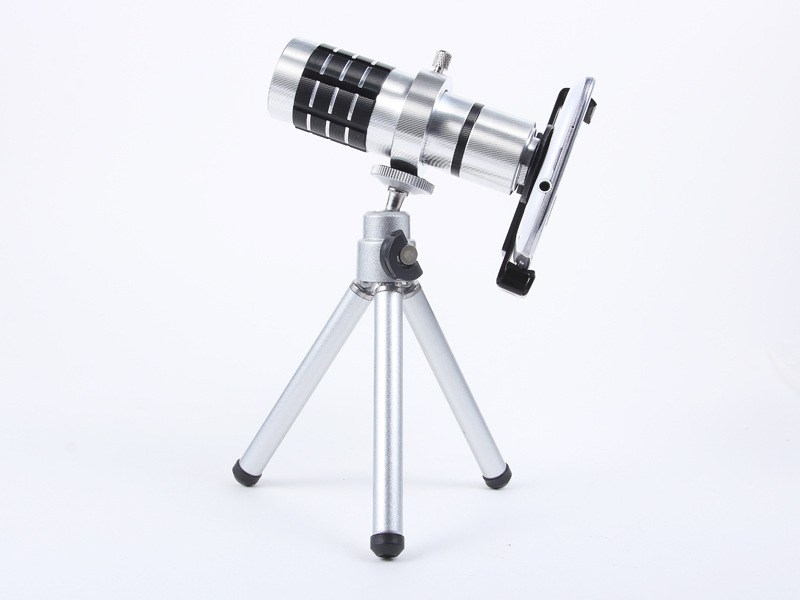 Universal 12X Zoom Phone Camera Lens Telephoto Telescope With Mount Clip Holder Mini Tripod Stand Lens For iPhone Smartphone 10