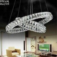 Modern Led long Crystal Pendant Lamps D20 D30 D40 D50 D60 D70 D80cm 2 round rings combination Dinning Living Room lustres Lights