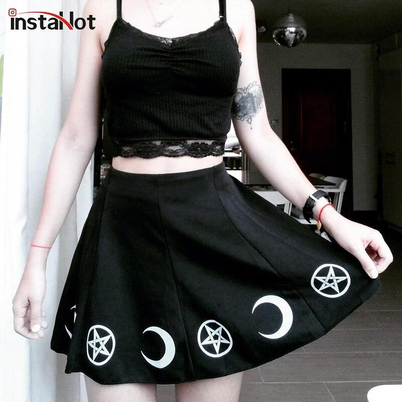 20240f862 InstaHot Moon estampado plisado una línea faldas mujeres negro gótico Punk  Cool Lady Mini falda primavera nueva Comer Sexy Streetwear ropa