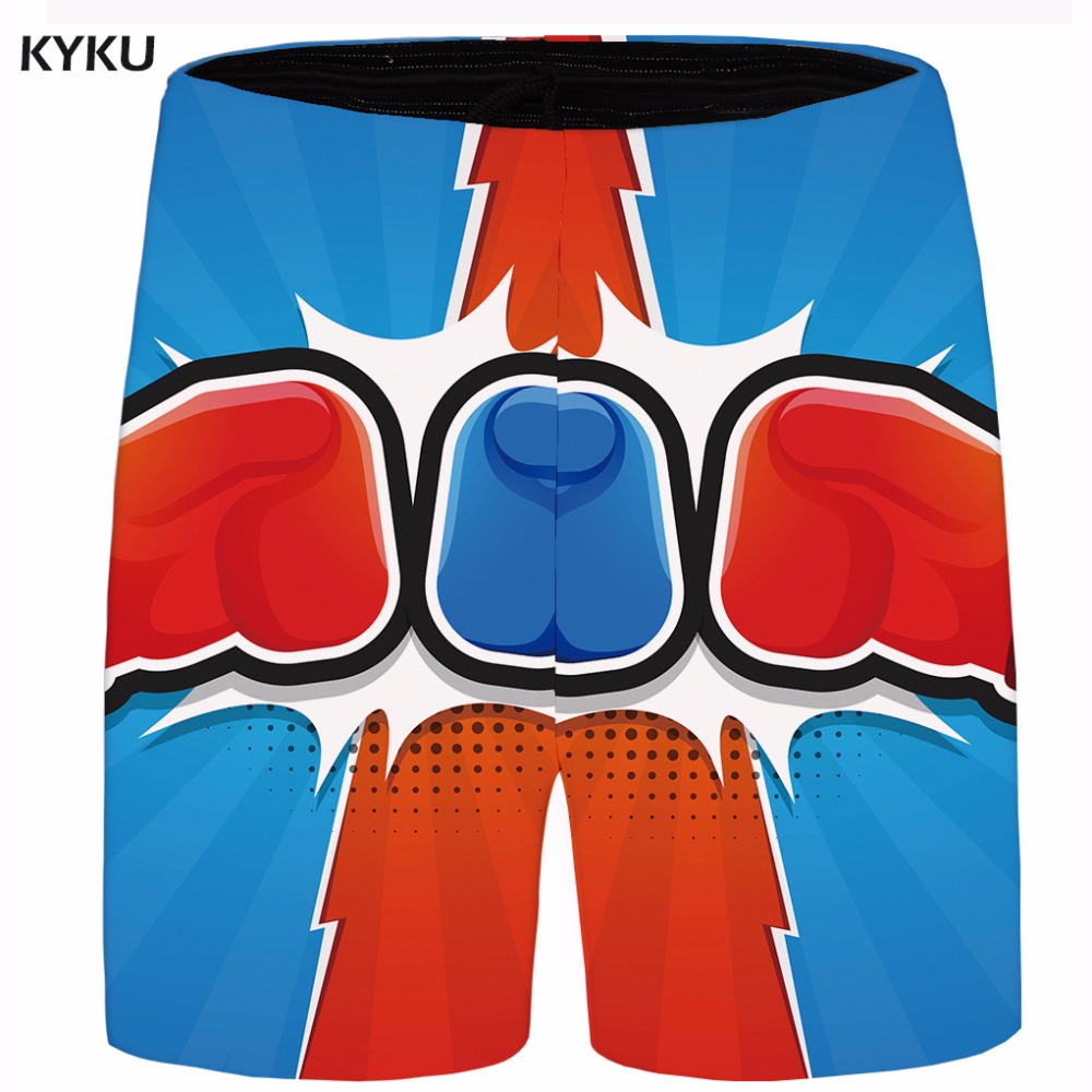 KYKU Brand Cartoon Short Men Blue Hawaii Beach Shorts War Cargo Casual Short Sweat Gothic Mens Short 2018 New Male Summer