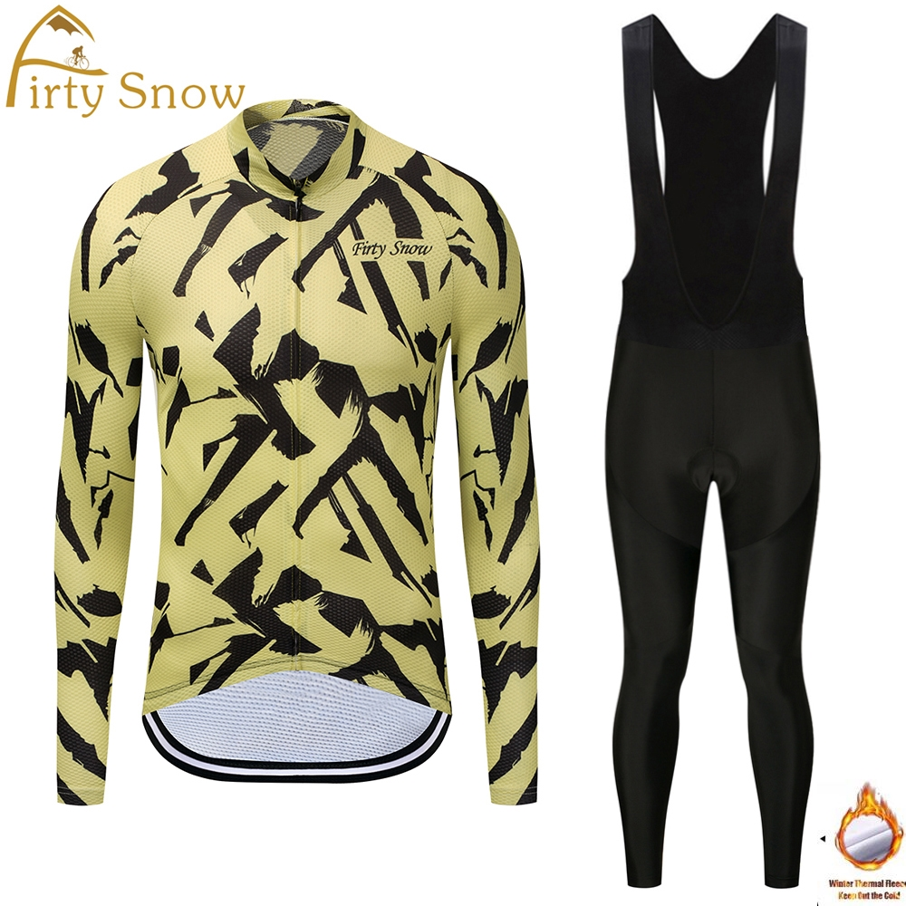 Firty Snow cycling jersey winter thermal fleece MTB bike Long Sleeve Jacket Men Bicycle Clothing Ropa Ciclismo Hombre Bib Pants
