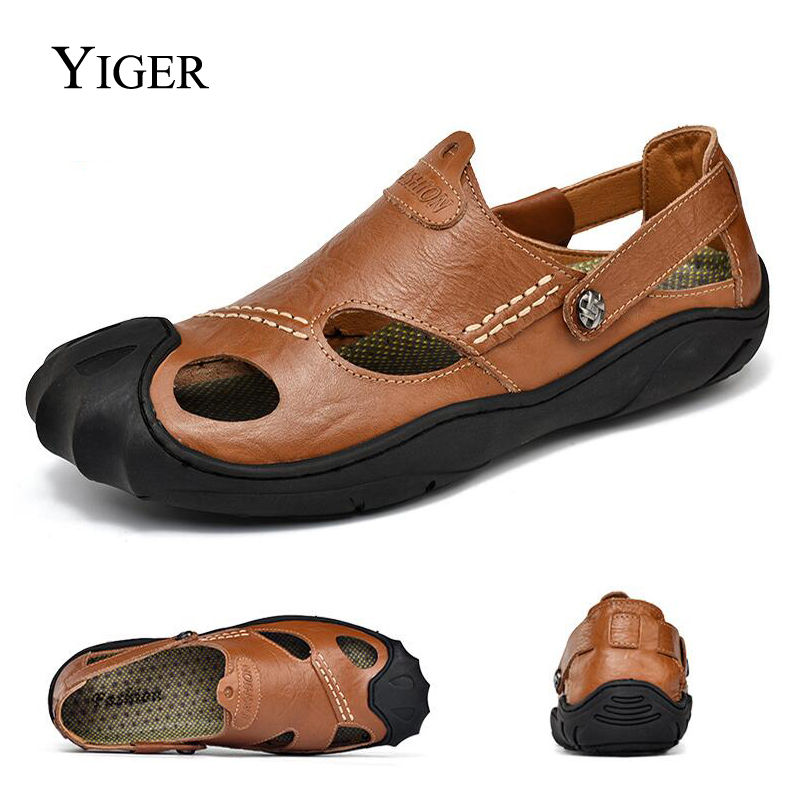 YIGER New Men Sandals Genuine Leather Mans Beach Sandals Large size Summer Leisure shoes Rubber sole Slippers Big size 0067