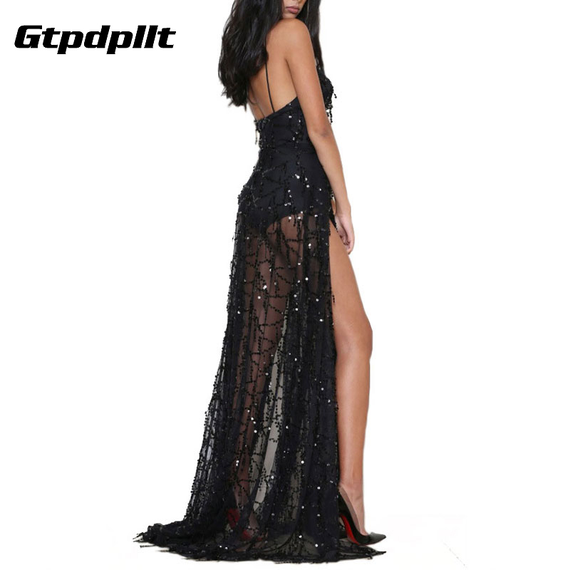 Gtpdpllt Sexy sequin shiny Party Summer dress women Deep v Strap Long dress Backless embroidery maxi dresses club vestidos