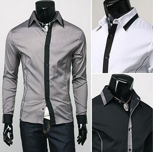 Men's Turn-down Collar Long Sleeve Single Breasted Patchwork New Style Slim Casual Shirts Camisas Baju NT06 - meijuan dai's store