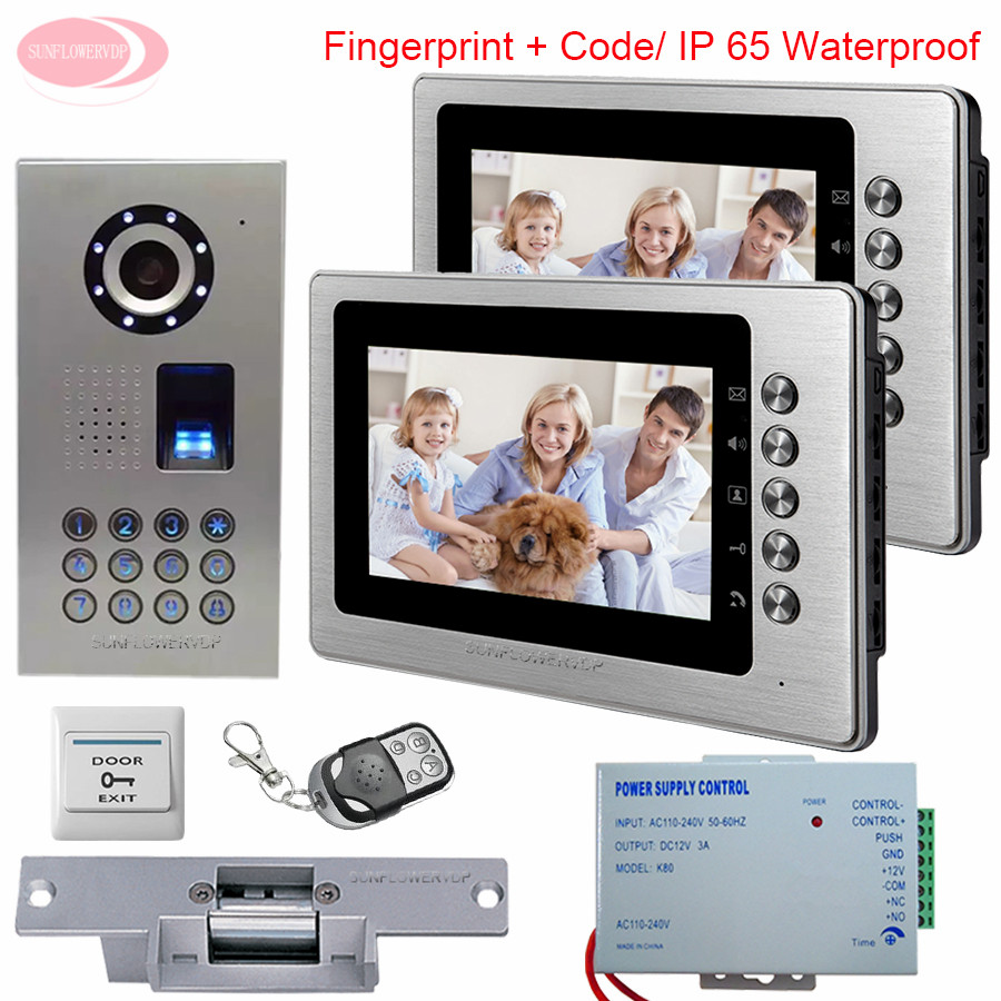 2 Apartment 7'' Color Intercom System Video Door Phone Intercom IP65 Waterproof Fingerprint Code Home Intercom +Electronic lock my apartment