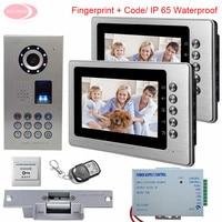 2 Apartment 7'' Color Intercom System Video Door Phone Intercom IP65 Waterproof Fingerprint Code Home Intercom +Electronic lock