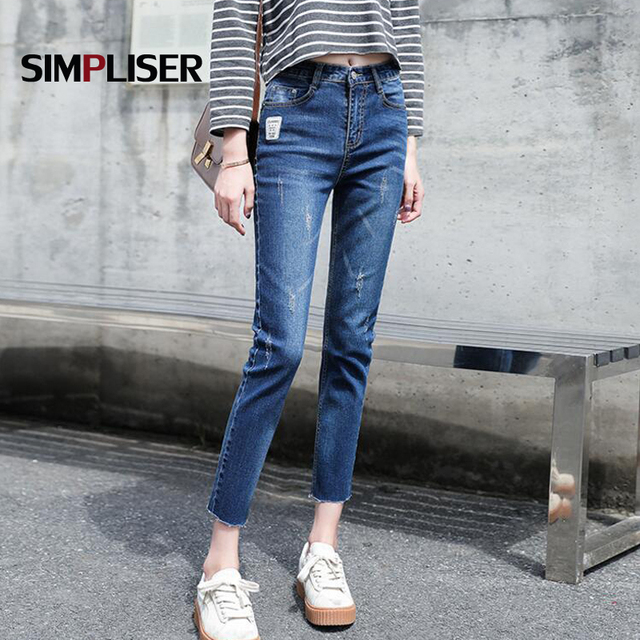 Ankle Length Capri Jeans Trousers Women 2018 Jeans Pencil Pants Plus Size  32 Femme Pantalon Denim Blue Pants Jeans Leggings 4cde4fa02674
