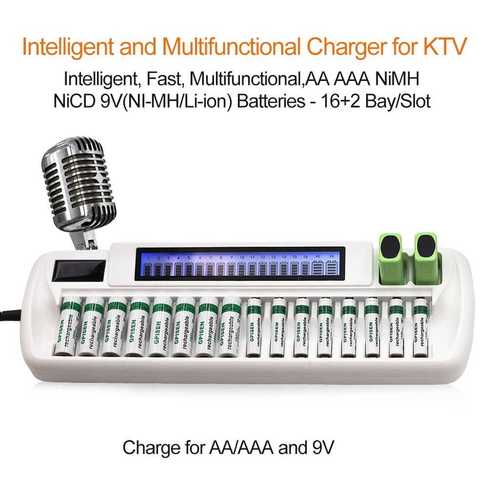 AA AAA 9V ชาร์จอัจฉริยะสำหรับ Ni-MH Ni-Cd 16-Bay 16 ช่อง + 9V li-ion Dual LCD Smart แบตเตอรี่เครื่องชาร์จ OEM รับรอง
