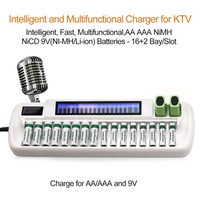 AA AAA 9V Intelligent Charger For Ni MH Ni Cd 16 bay 16 Slot + 9V Li ion Dual LCD Smart Batteries Charger OEM Certificated