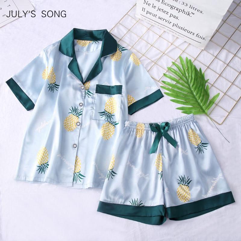 JULYS SONG Womens Faux Silk Satin Pajamas Set Short Sleeves Sleepwear Pajamas Suit Shorts Female Pajamas Two Piece Set LoungePajama Sets   -