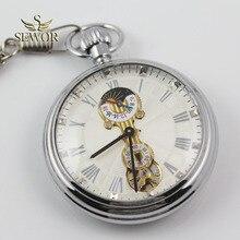 SEWOR Топ люксовый бренд Простой Модный moon phase маленький секундный дисплей серебряные спортивные Механические карманные часы C228