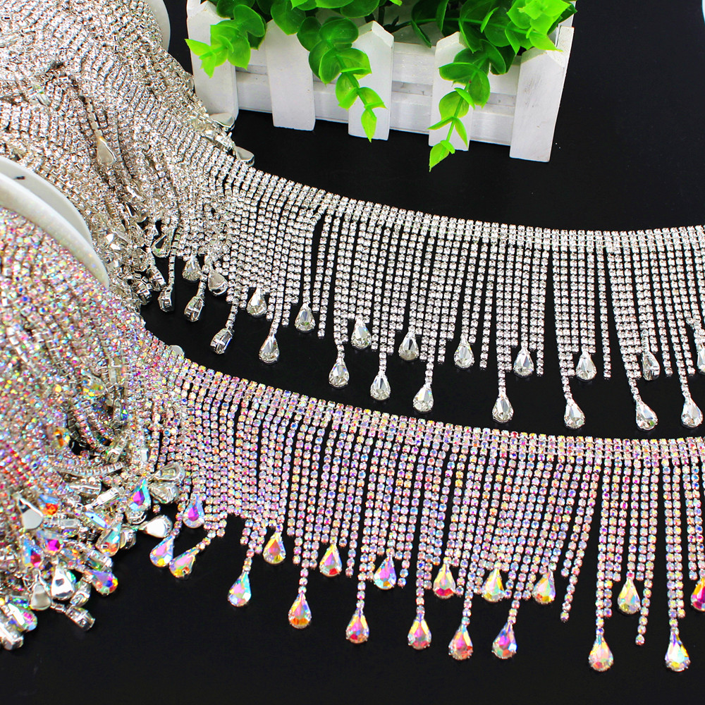 1 Yard DIY sew on trimming bridal crystal clear rhinestone patch appliques  for Bridal dress Handmade Silver sewing tassel fringe-in Bridal Blets from  ... 349f314c930d