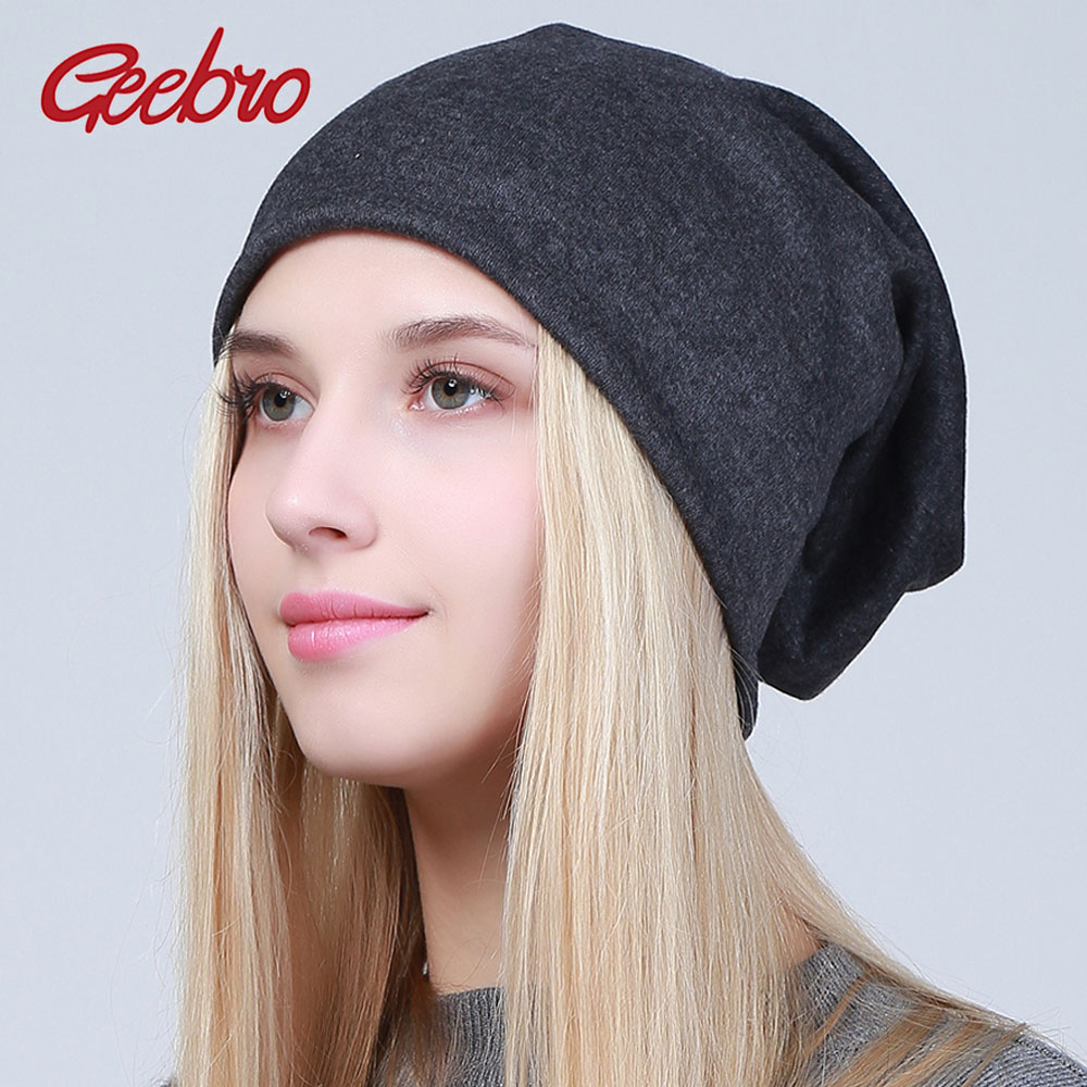 Geebro Women Plain   Beanie   Hats Winter Casual Warm Cotton Knitted Slouchy Hat for Girls Women's Balavaca   Skullies     Beanie   JS293A-1