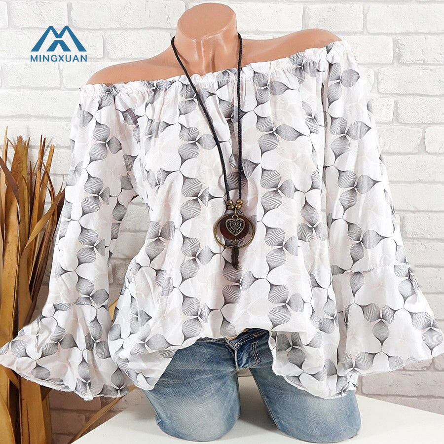 2018 Summer Floral Print Blouse Shirt Brief Casual Short Sleeve Tops Off Shoulder Trumpet Sleeve Loose Shirt
