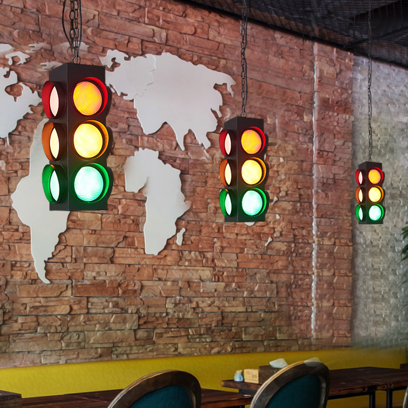 Vintage traffic light light stylish sphere ball industrial LOFT Iron droplight Black tree classic modern LED pendant lamp