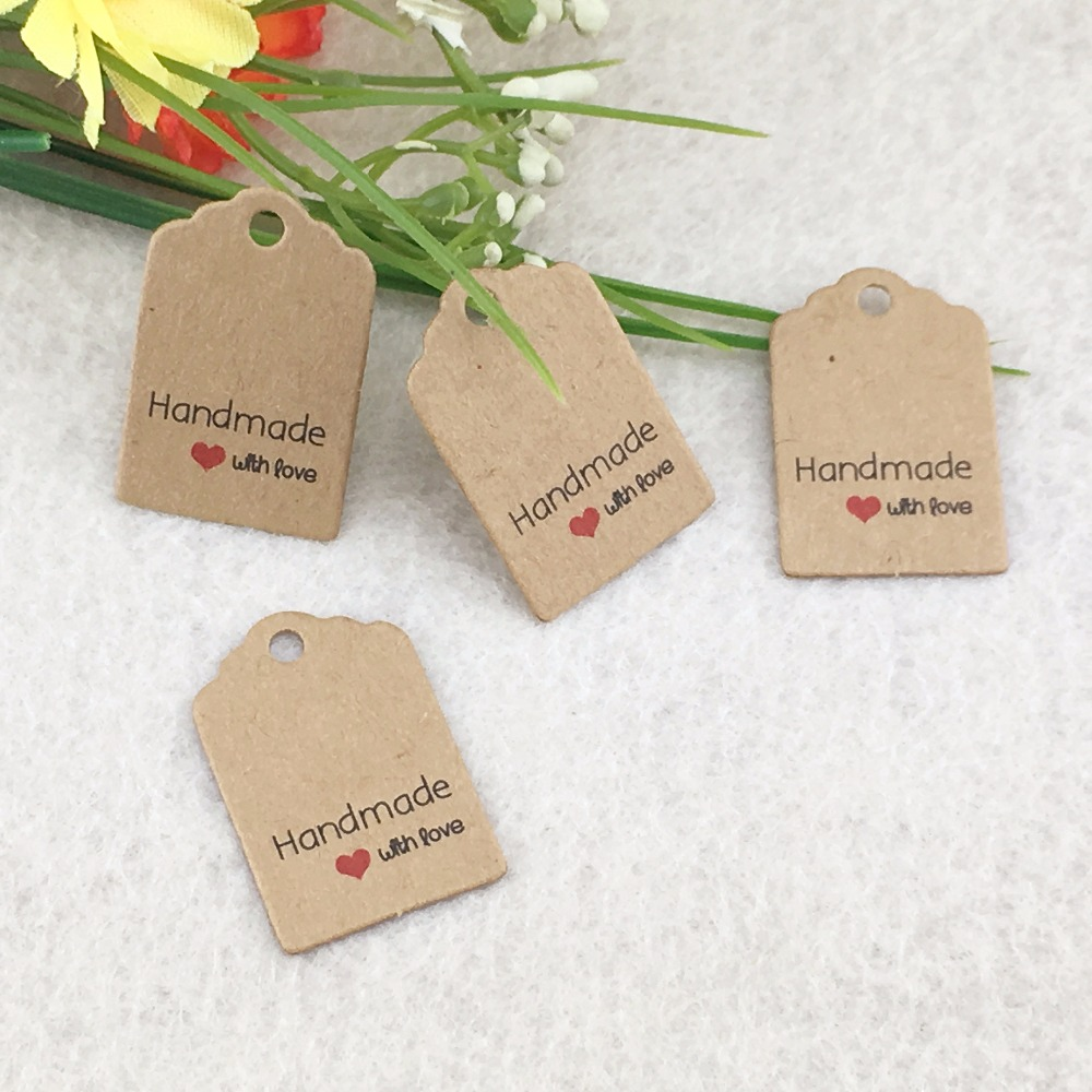 3x2cm100pcs/lot kraft tags Excellent Quality Brown Kraft Paper Gift ...