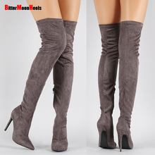 Women Stretch Fabric Slim Thigh High Boots Sexy Fashion Over the Knee Boots High Heels Woman Zip Pointed Toe Shoes
