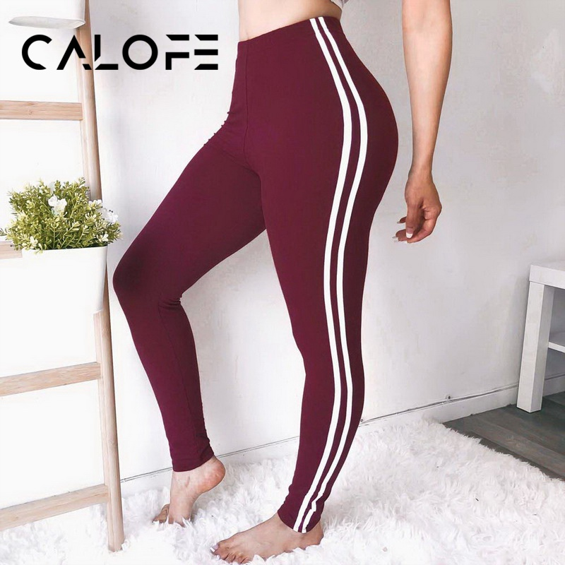 CALOFE High Waist Women Leggings Fitness Patchwork Legging High Elastic Workout Leggins Female Push Up Trousers Pants
