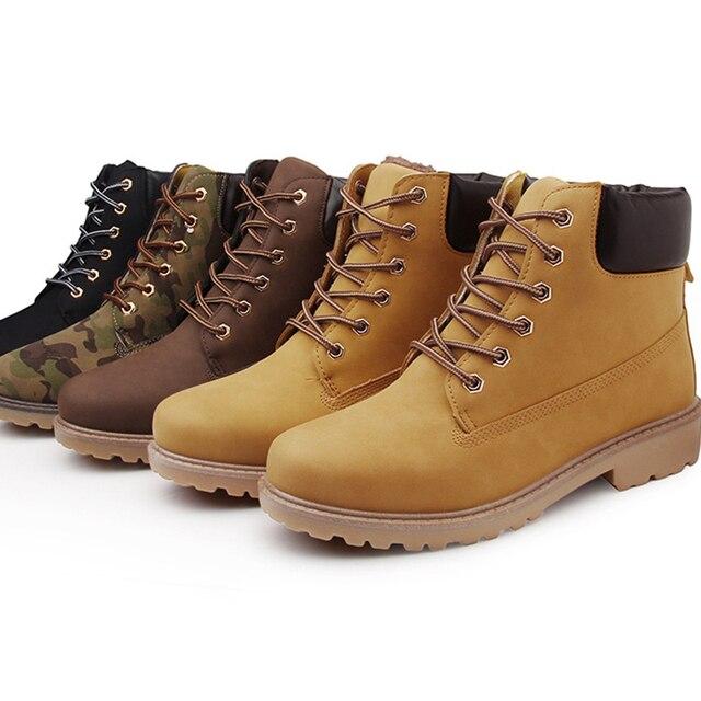Artı Boyutu erkek İngiltere Tarzı Çizmeler PU Deri Bahar Sonbahar Kış kar ayakkabıları Erkekler yarım çizmeler Yüksek Çalışma Güvenlik Ayakkabıları Moda