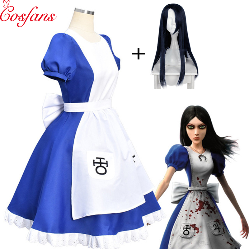Game Alice Madness Returns Cosplay Costume Halloween Costumes Maid Dresses Apron Dress For Women Girls Plus Size costume and wig