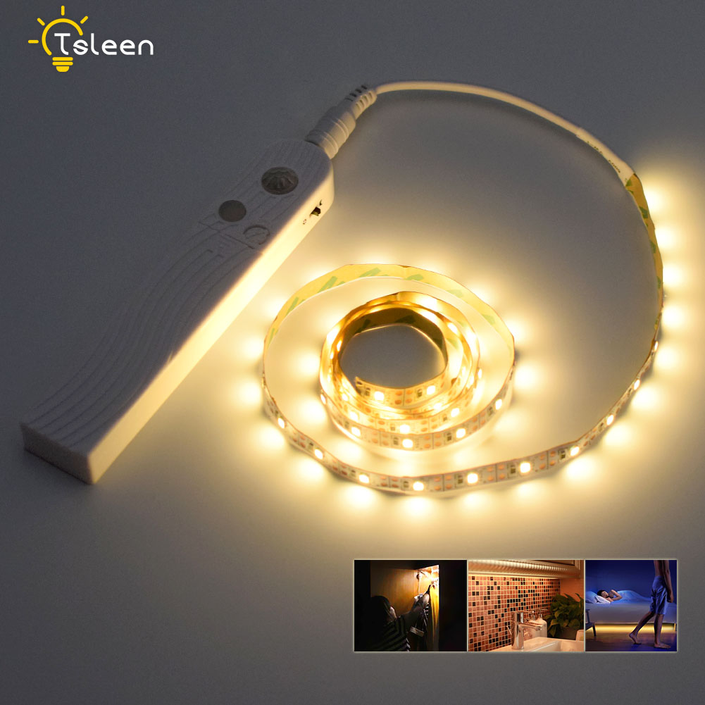 TSLEEN LED Cabinet light PIR Motion Sensor LED Strip Waterproof 5V Under Bed Light Closet Wardrobe Stairs Night Light 1M 2M 3M pir motion sensor 20 led under cabinet light closet wall lamp led rigid strip bar light kitchen wardrobe emergency night light