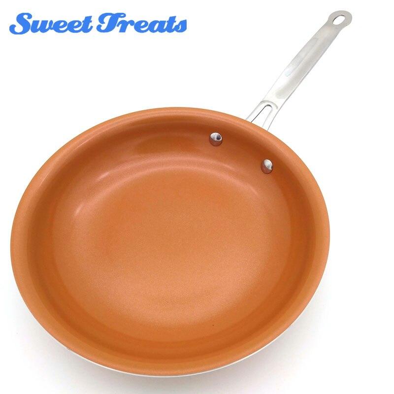 Sweettreats redondo antiadherente sartén de cobre con revestimiento de cerámica y cocina de inducción, horno y lavavajillas seguros