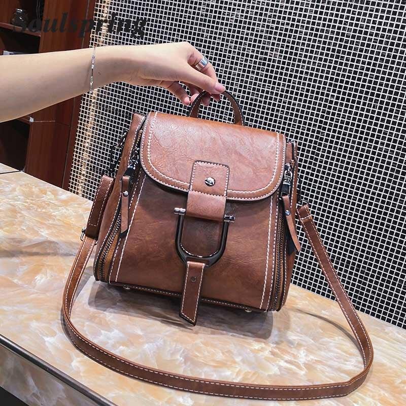 SOULSPRING Multifunction Vintage Pu Leather Bags Women Handbags Female Crossbody Bags Luxury Brand Flap Shoulder Bags New 2018
