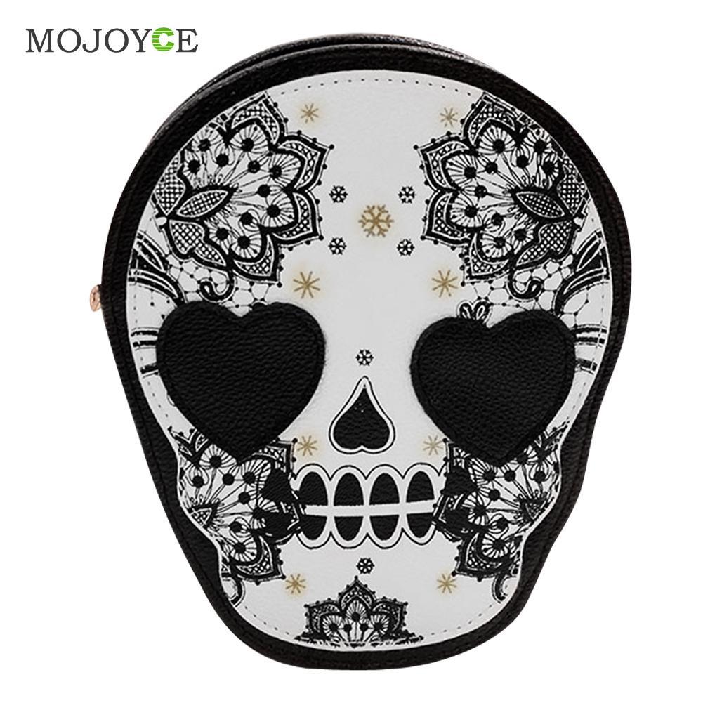 PU Retro Skull Print Women Bags Shoulder Crossbody Bag Women Leather Handbag Women Messenger Bags Designer Punk Skull Mochila