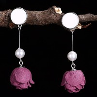 INALIS Hot New Fashion Roses Flower Simulated Pearl Dangle Earrings For Women And Ladies Gift 925