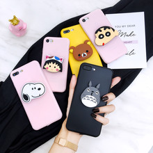 Rilakkuma Totoro Ring Stand Grip Case Voor Iphone Se 6 7 8 Plus Xs Xr Max Cover Voor Samsung A51 71 S8 S9 S10 S20 Plus Note 8 9 10(China)