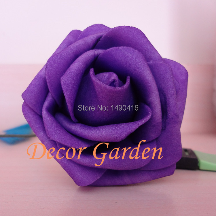 Whole 50pcs 7cm Pe Dark Purple Artificial Foam Roses For Diy Wedding Bouquet Wrist Flowers
