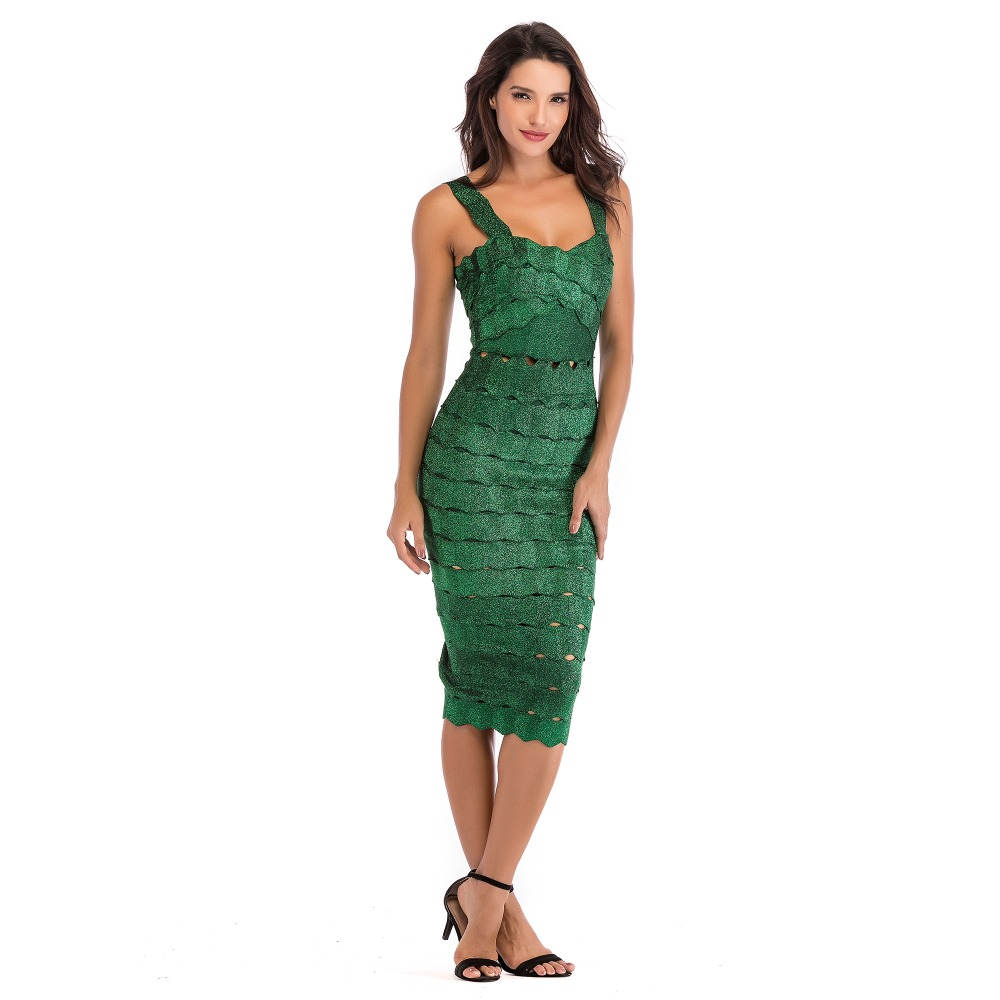Femmes Midi Évider Sexy Robe 2018 Club Party Green Robes Spaghetti Vert Sangle Celebrity Carré Col Wear ESxq1wOHU