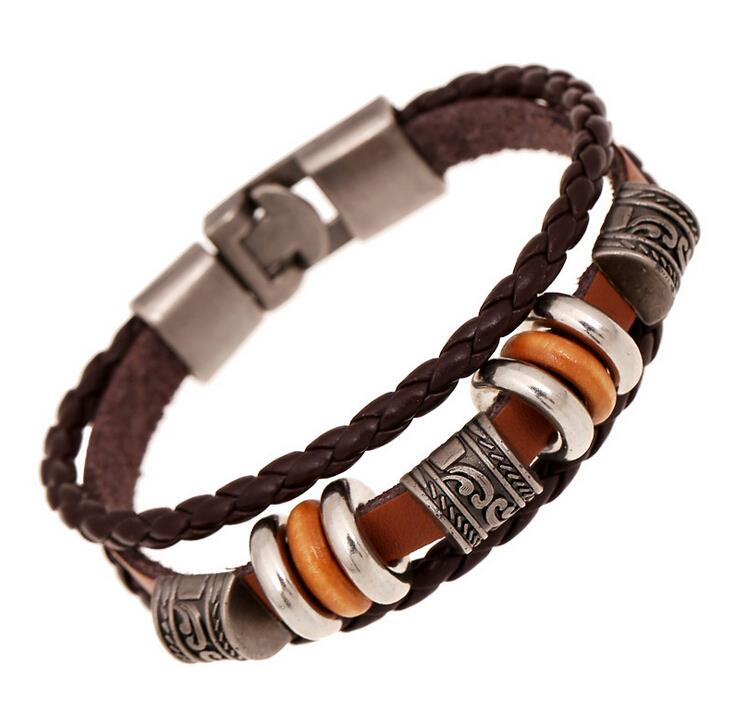 AMOURJOUX Handmade Retro Genuine Leather Woven Charm Braceles