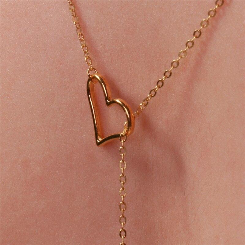 Ozadje ogrlica v obliki srca votla bar obesek Oblika ogrlice dolg - Modni nakit - Fotografija 5