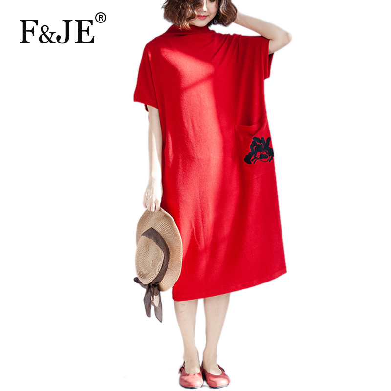 F&JE 2018 Spring Summer Korean Style Women Batwing Sleeve Loose Dress Pocket Design Embroidery Casual Dresses Top Quality D50