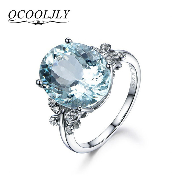 QCOOLJLY Hot 2018 Women Crystal Cubic Zirconia Silver Plated Crystal Blue Oval B