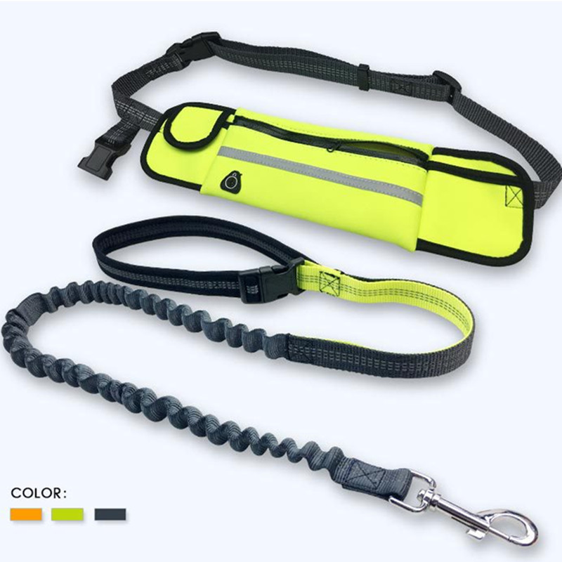 Nylon Dog Hands Free Leash with Waist Pouch Bags Reflective Bungee Pet Leash For Running Jogging Walking 4 Colors