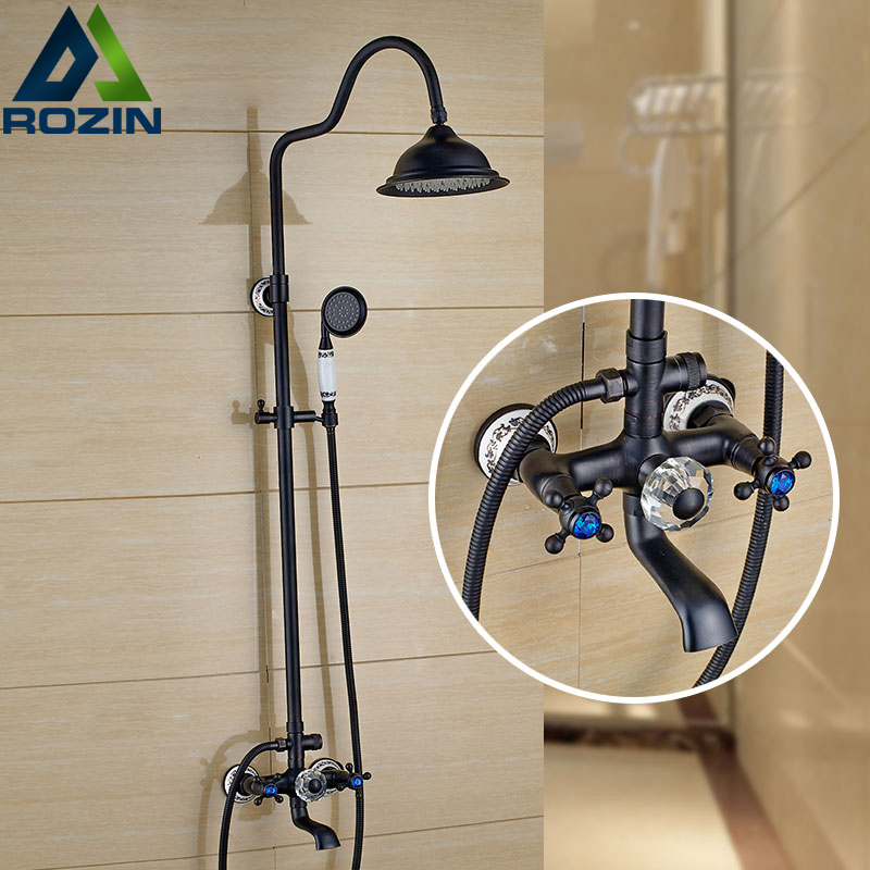 Contemporary Wall Mounted Rainfall Brass Shower Set Panel Dual Handle 3-functions Shower Hot and Cold Taps With Tub Spout