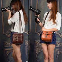 PU leather retro camera DV bag for Canon Nikon Sony Samsung JVC fashion Waterproof Vintage