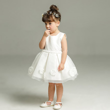 цены new born kid baby girl dress vestido infantil bebe white lace baby dress wedding party gowns bow sleeveless girls baptism 1 year