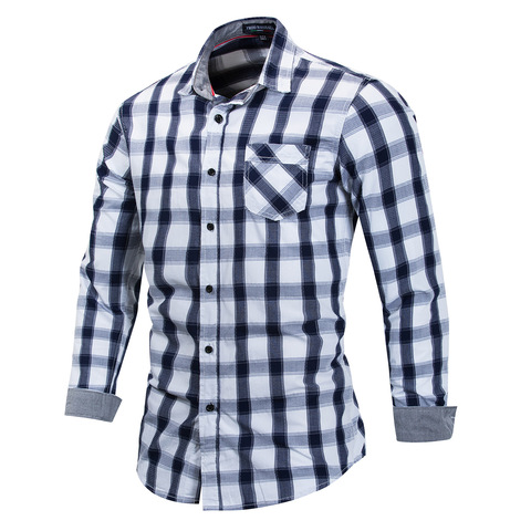 Brand Hot Sell 2018 Summer New Casual Dress Shirt Men Long Sleeve Fashion Plaid Denim Shirt 100% Pure Cotton Brand Clothes FM158 Islamabad