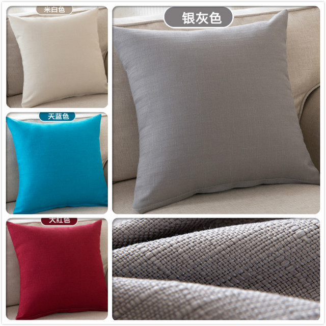 Linen Cotton Printed Solid Pure Colour Square Home Decor Sofa Backrest Cushion Cover Car Bed