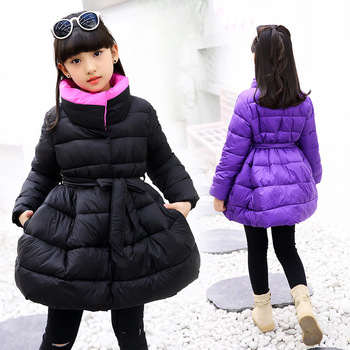 Teenage Girls Winter Cotton-Padded Jacket Children's Fashion Coat Kids Outerwear Girls Warm Coat Down Jackets Children Clothing цена 2017