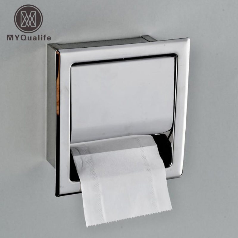 Free Shipping Stainless Steel Toilet Paper Holder Polished Chrome Wall Mounted Concealed Bathroom Roll Paper Box