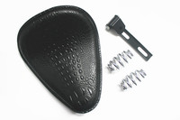 Motorcycle Retro Black Crocodile Leather Solo Seat+3 Spring Bracket for Custom Chopper Bobber Leather Saddle Seat