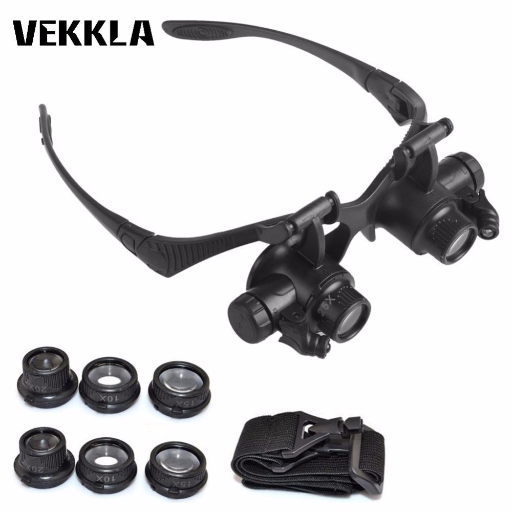 Hot 10X 15X 20X 25X LED Lights Glasses Magnifier Jeweler Watch Repair Eye Glasses Optical Lens Magnifier Loupe Tools