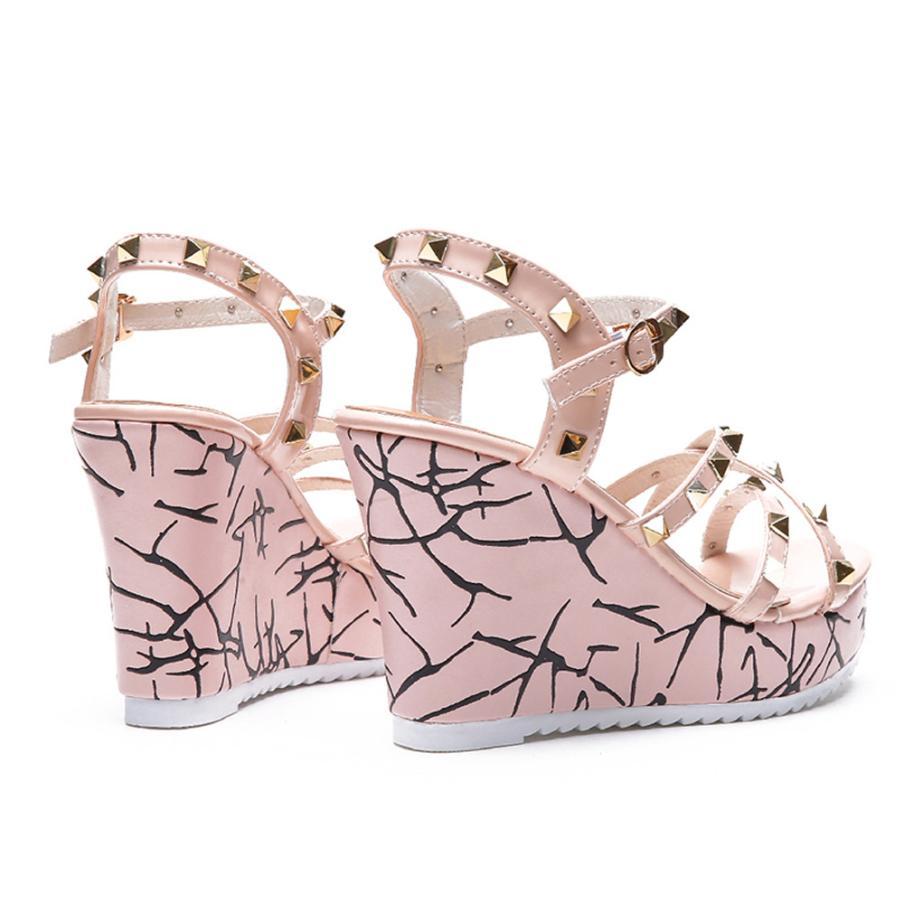 Summer Lady Fashion Wedge High Heels Sandals Elegant Rivets Women Heels Fashion Platform High Heels Wedge Sandals Female Shoes 13