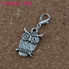 MIC 100Pcs Antique Silver Alloy CUTE WIZE OWL Charms Bead with Lobster clasp Fit Charm Bracelet DIY Jewelry 14x36mm A-231b
